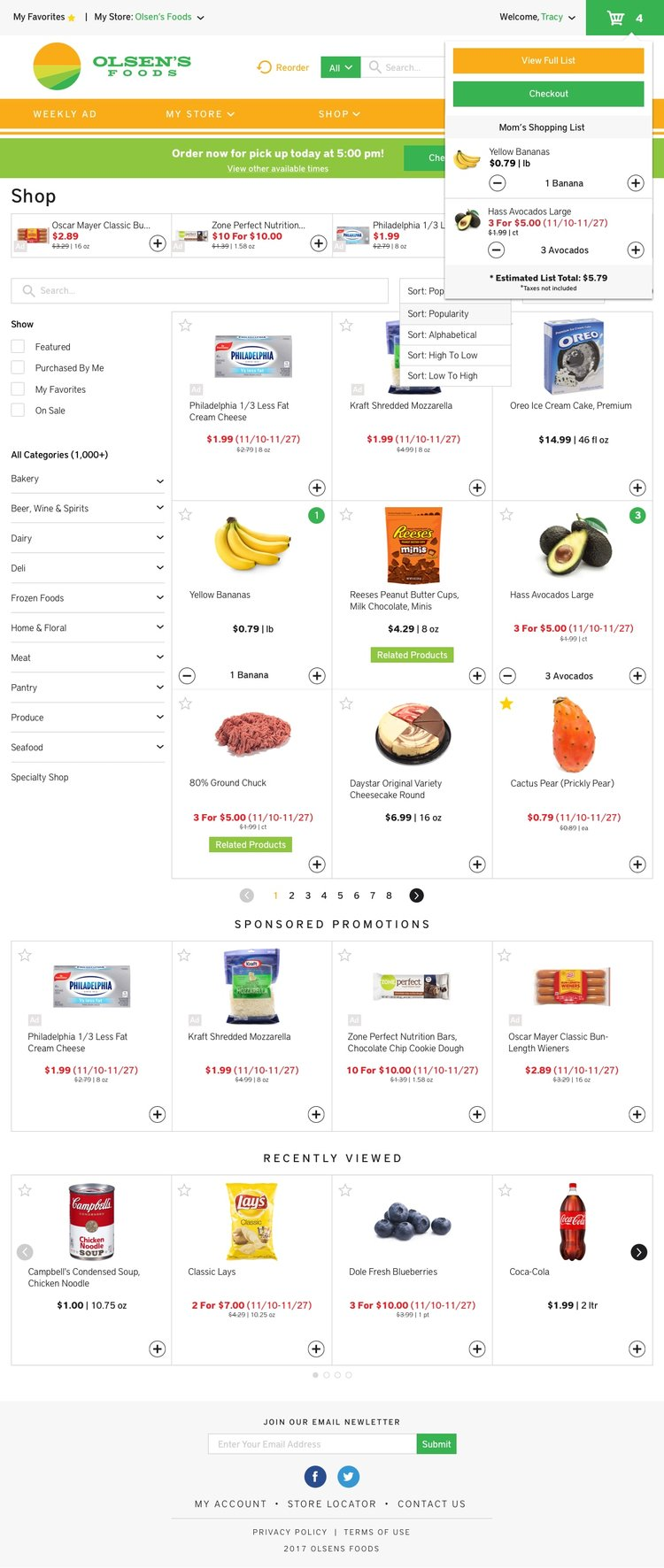 Freshop Themes: Olsen's Products