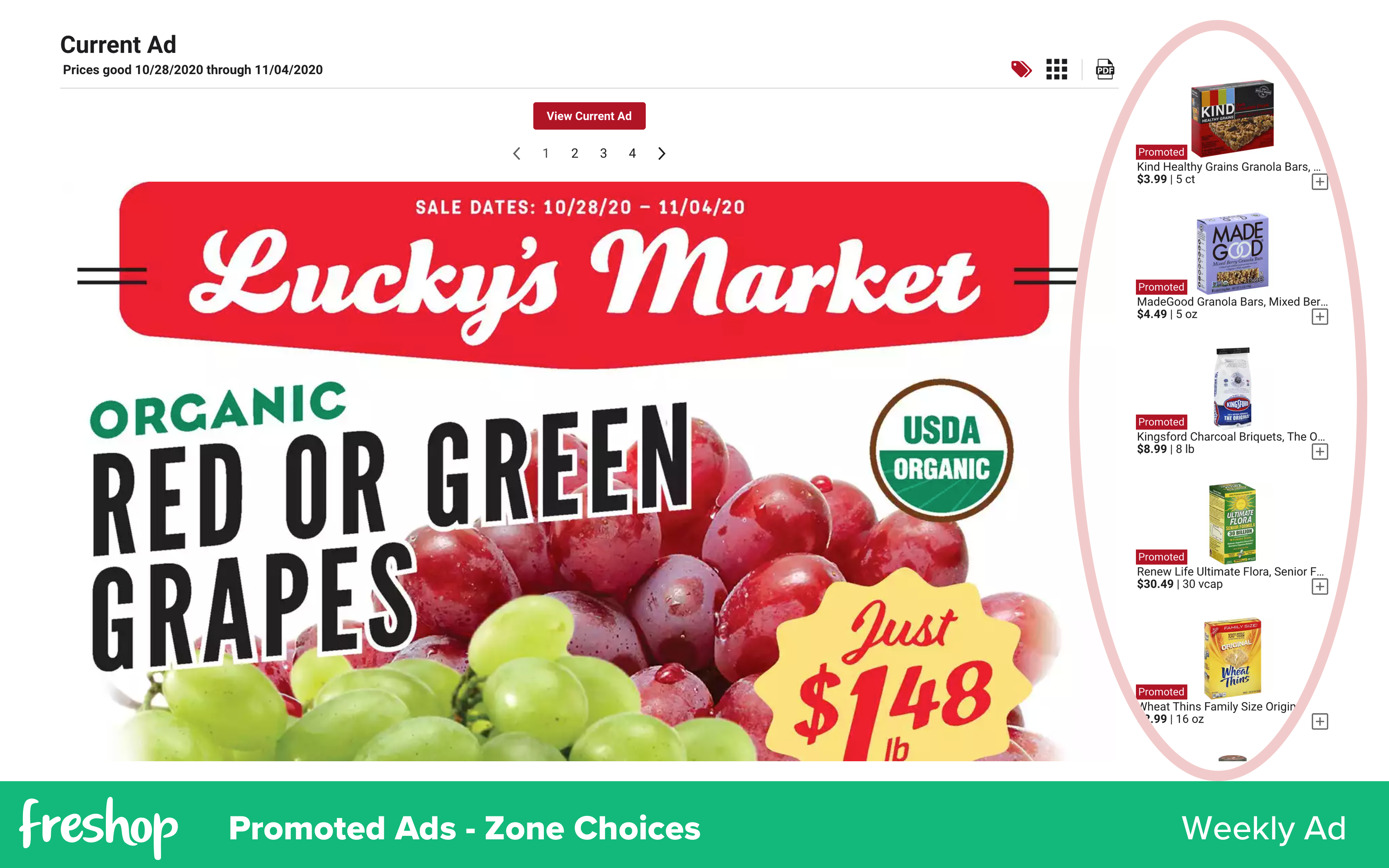 Freshop: Promoted Ads   Zones - Weekly Ad